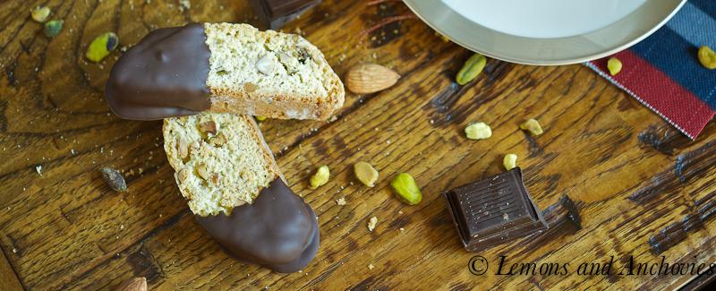 Chocolate Dipped Pistachio Almond Biscotti | http://lemonsandanchovies ...