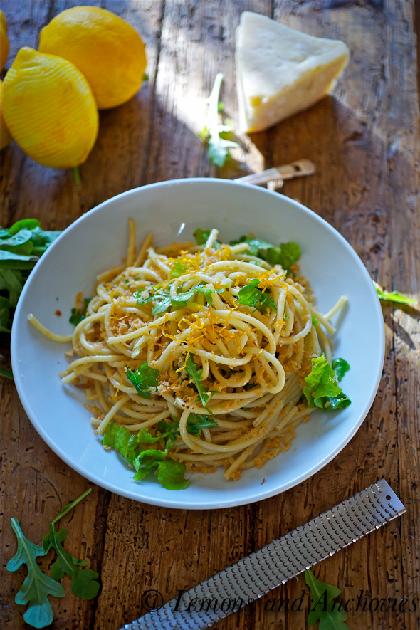 Bucatini with Arugula, Anchovies, and Fried Lemon Zest | Lemons and ...