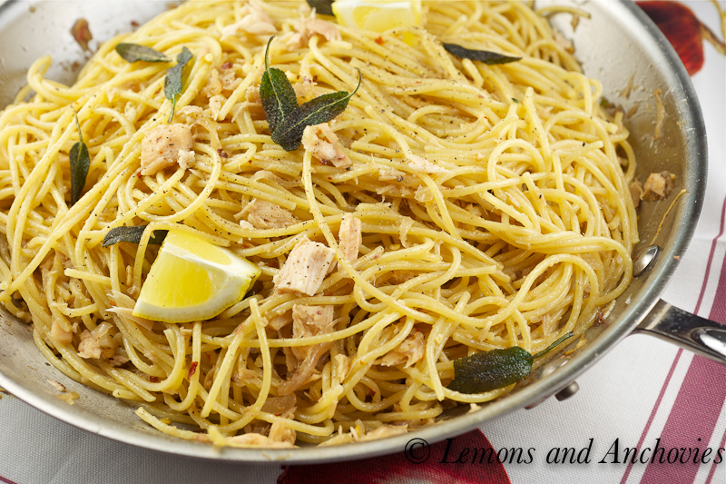 Spaghetti with Tuna, Anchovies and Crispy Sage | Lemons and Anchovies