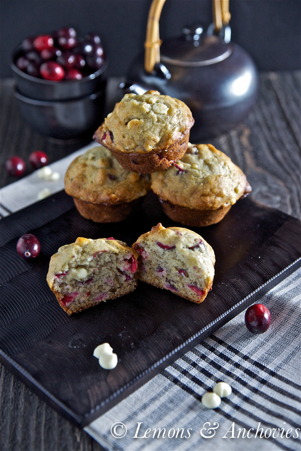 Banana Cranberry White Chocolate Chip Muffins | Lemons and Anchovies