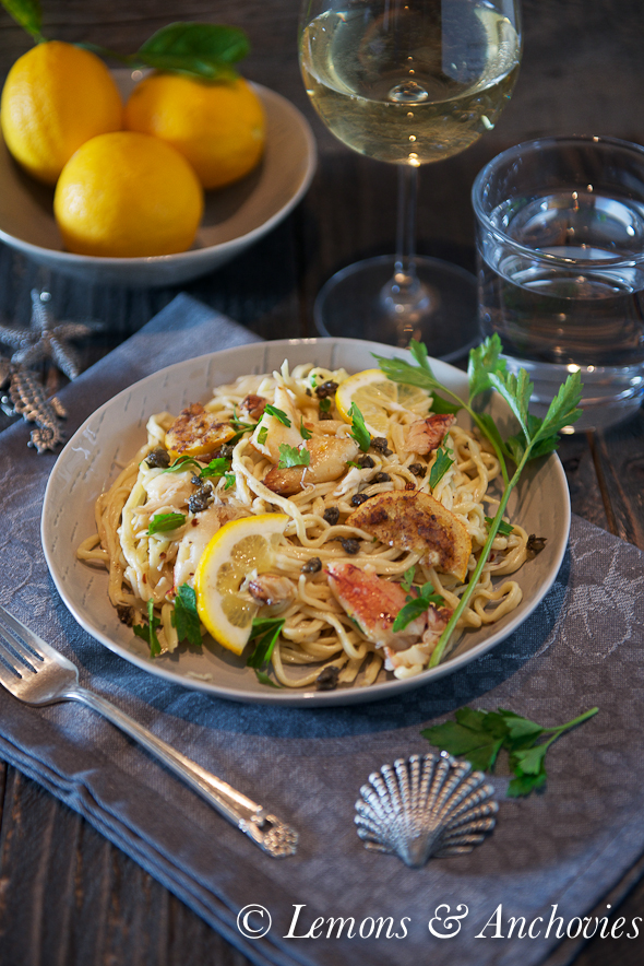 Dungeness Crab Pasta with Fried Meyer Lemon Slices and Fried Capers-2