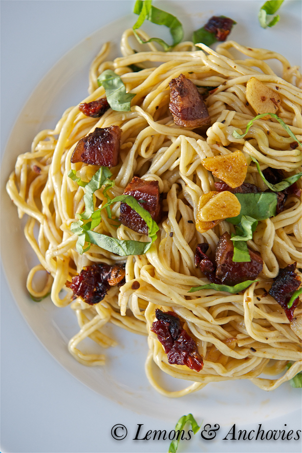 Homemade Pasta with Sun-Dried Tomatoes and Guanciale