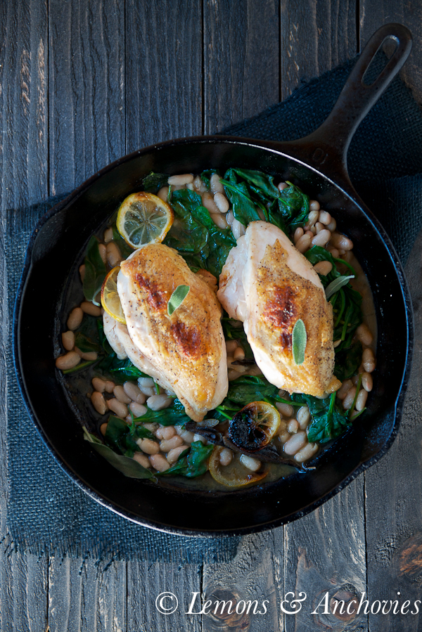 Roast Chicken with White Beans and Spinach-2