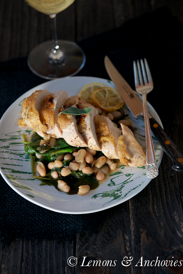 Roast Chicken with White Beans and Spinach-4