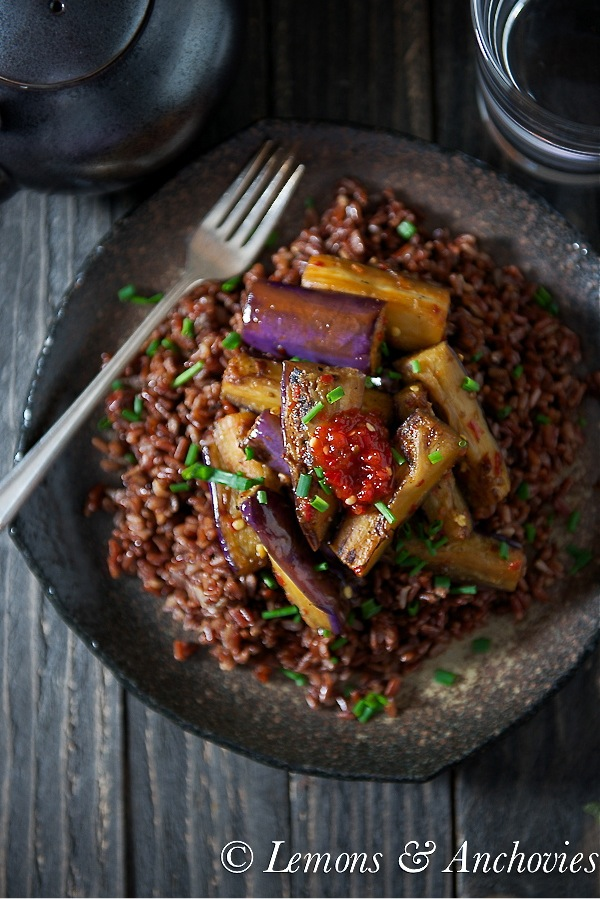 Stir-Fried Eggplant with Sambal over Red Rice