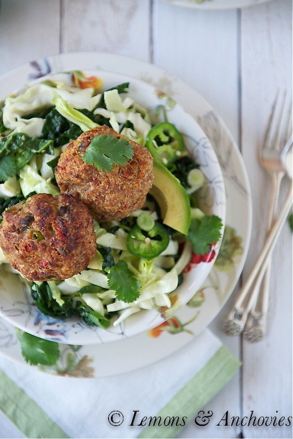 Thai-Style Baked Turkey Patties with Cabbage Slaw-2