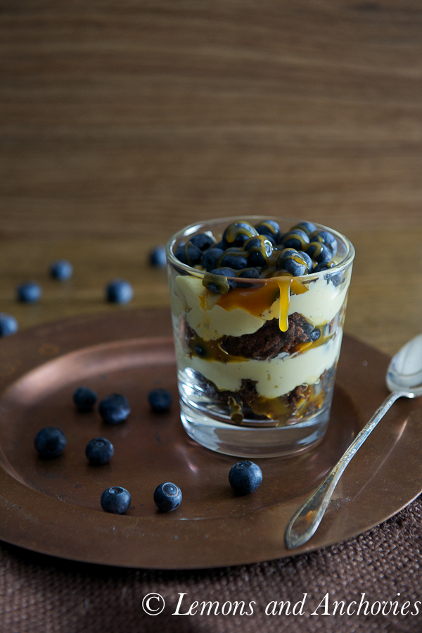 Chocolate Caramel Blueberry Trifle