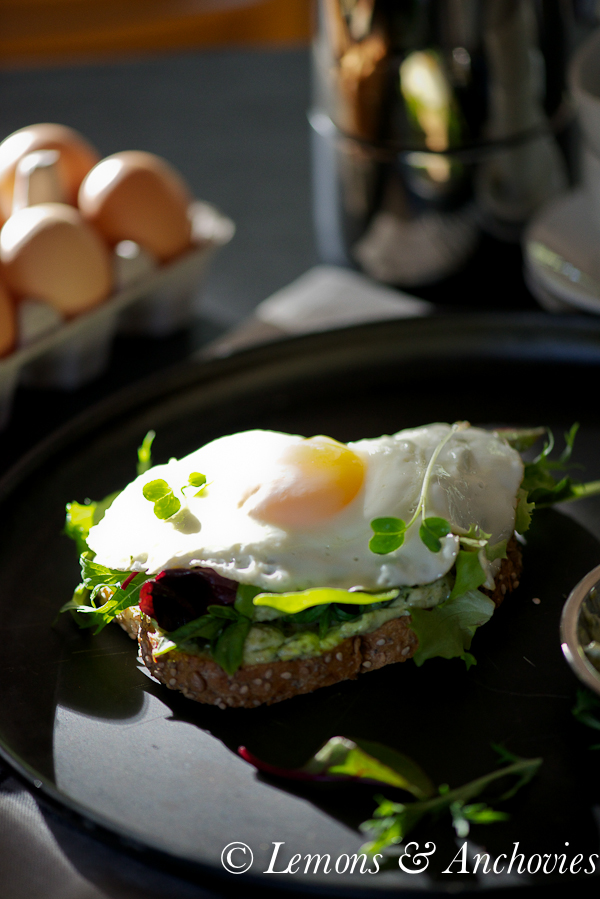 Fried Egg Tartine with Greens and Pesto Mayo-2