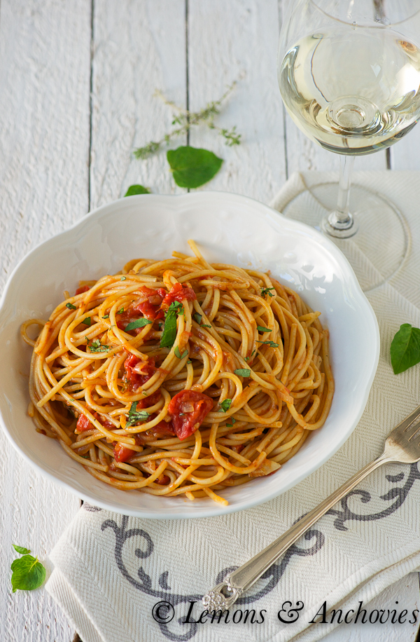 Spaghetti with Tomatoes & Anchovies