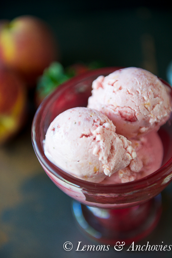 Strawberry Peach Frozen Yogurt