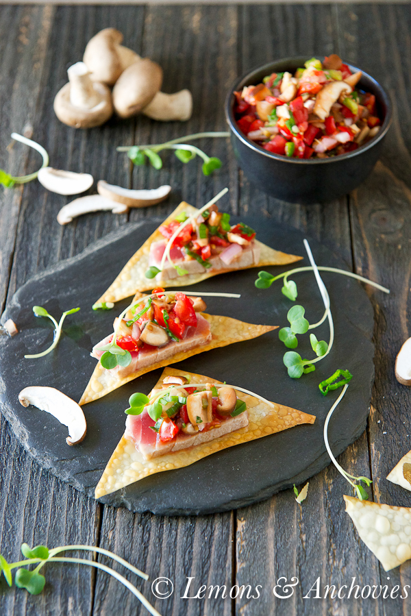 Seared Ahi with Wonton Crisps and Shiitake Mushroom Salsa