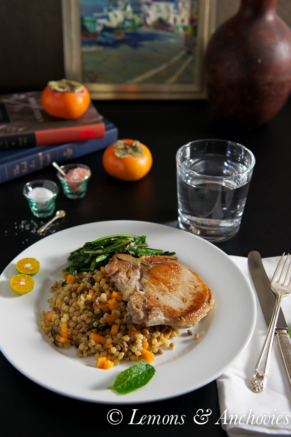 Pork Chops, Fregola Sarda with Persimmon & Mint and Sautéed Dandelion Greens @lemonsanchovies