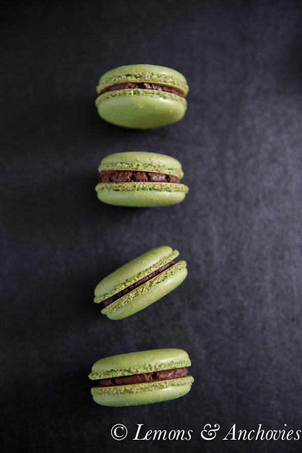 Matcha Green Tea Macarons with Chocolate Ganache-5