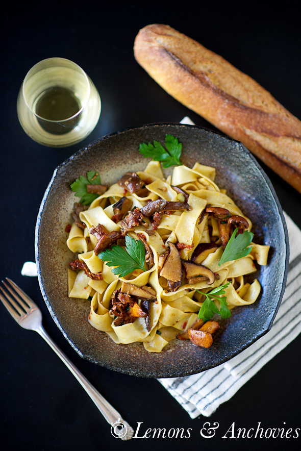 Fresh Tagliatelle with Sun-Dried Tomatoes and Four Mushrooms