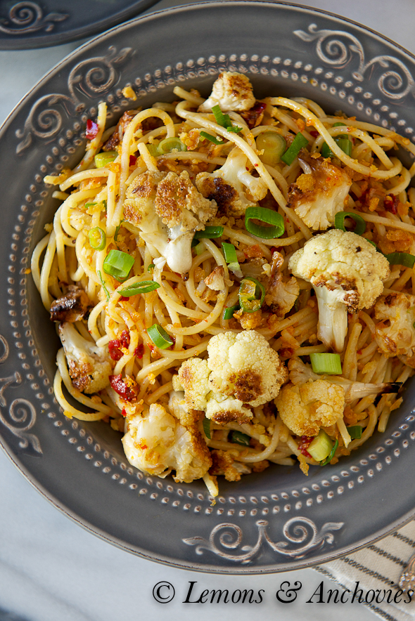 Spicy Roasted Cauliflower Pasta with Bread Crumbs
